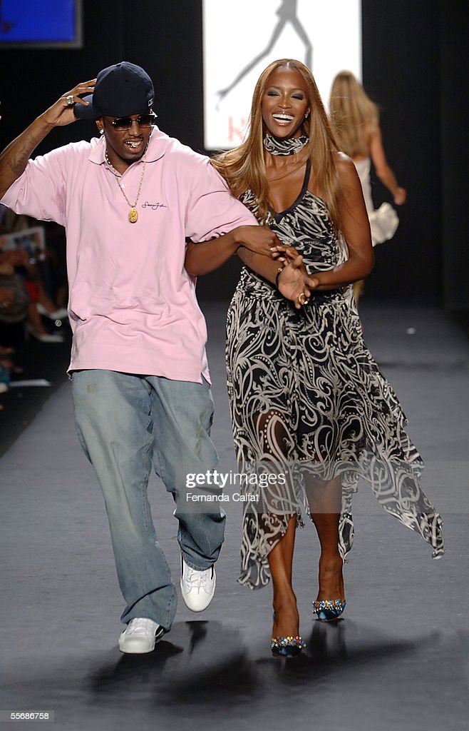 Sean 'P. Diddy' Combs and Naomi Campbell walk the runway at the 'Fashion for Relief' fashion show, with proceeds going to aid Hurricane Katrina victims, during Olympus Fashion Week at Bryant Park September 16, 2005 in New York City.