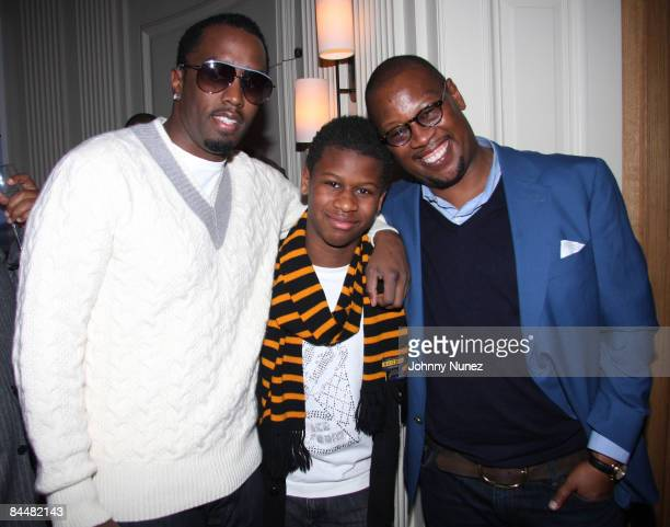 Sean P Diddy Combs Andre Jr and Andre Harrell attend Andre Harrell's celebration dinner hosted by Lyor Cohen at a Private Residence on January 26...