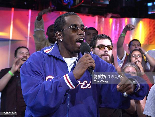 Sean 'P Diddy' Combs during Sean 'P Diddy' Combs Hosts MTV's 'TRL' with guest Alien Ant Farm April 3 2002 at MTV Studios in New York City New York...