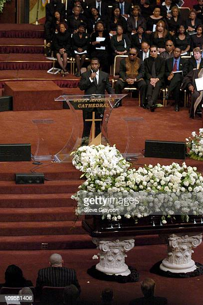 Sean P Diddy Combs speaks during the funeral for Johnnie Cochran who died of a tumor at the West Angeles Cathedral in Los Angeles California April 6...