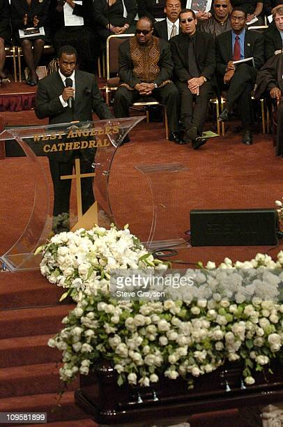 Sean P Diddy Combs speaks during the funeral service for the late Johnnie Cochran at the West Angeles Cathedral in Los Angeles California April 6 2005
