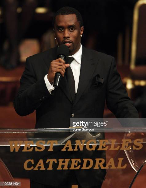 Sean P Diddy Combs speaks during the funeral service of the late Johnnie Cochran at the West Angeles Cathedral in Los Angeles California April 6 2005