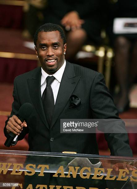 Sean P Diddy Combs speaks on stage during the funeral services for lawyer Johnnie L Cochran Jr at the West Angeles Cathedral on April 6 2005 in Los...