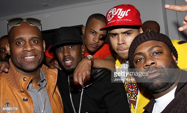 Sean P Diddy Combs TI Chris Brown and Breyon Prescott attends Timbaland Grammy Party Presented by Verizon and Blackberry on February 6 2009 in Los...