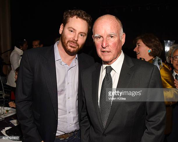 Sean Parker and governer Jerry Brown attend the Berggruen Institute 5 Year Anniversary Celebration at The Beverly Wilshire on May 3 2016 in Los...