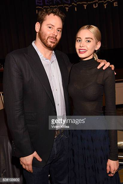 Sean Parker and singer Alexandra Lenas attend the Berggruen Institute 5 Year Anniversary Celebration at The Beverly Wilshire on May 3 2016 in Los...
