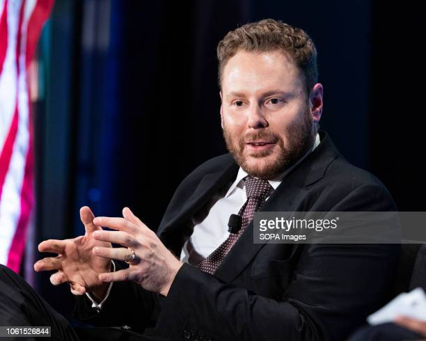 Sean Parker entrepreneur and philanthropist seen during the Jack Kemp Foundation 2018 Kemp Leadership Award Dinner at the Audi Field