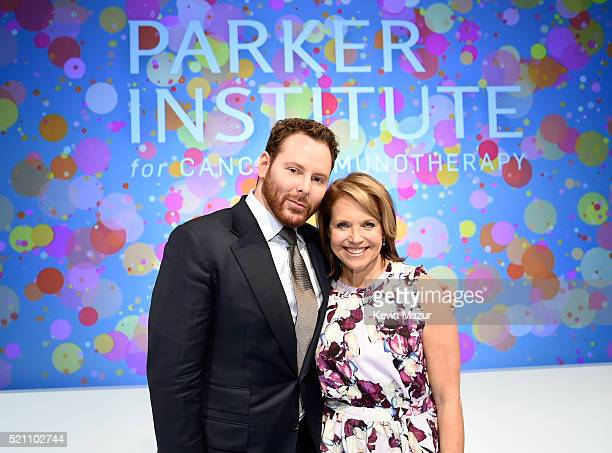 Sean Parker President of The Parker Foundation and journalist Katie Couric pose for a photo during the press conference launch of The Parker...