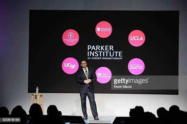 Sean Parker President of The Parker Foundation speaks at the press conference launch of The Parker Institute for Cancer Immunotherapy an...