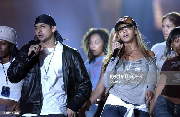 Sean Paul And Beyonce Knowles during MTV Europe Music Awards 2003 Rehearsals at Ocean Terminal Arena in Edinburgh United Kingdom