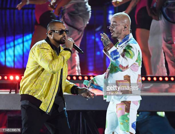 Sean Paul and J Balvin perform during the 2019 Billboard Latin Music Awards at the Mandalay Bay Events Center on April 25 2019 in Las Vegas Nevada