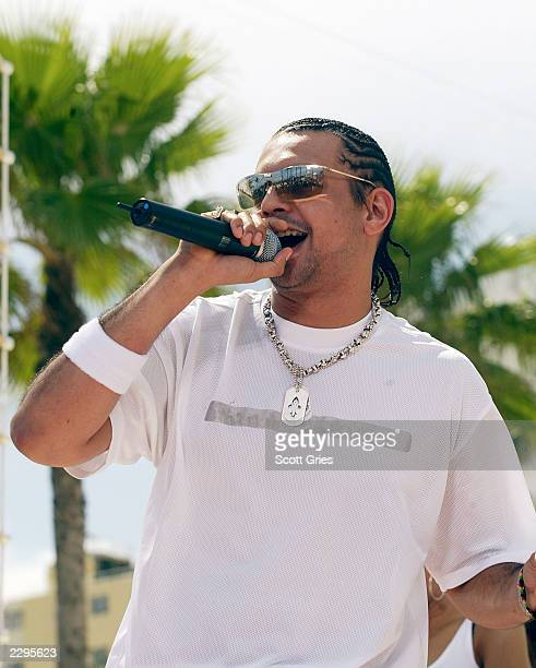 Sean Paul performs during a taping for MTV Spring Break 2003 at the Surfcomber Hotel March 14 2003 in Miami Beach Florida