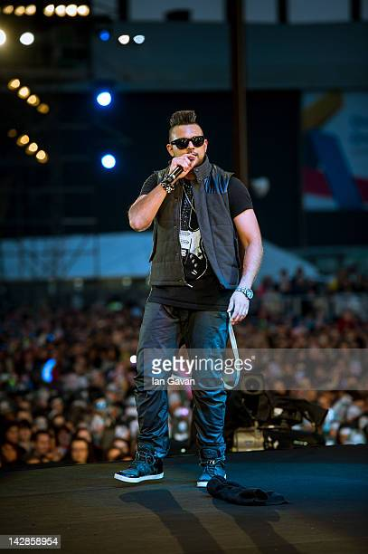 Sean Paul performs during MTV Presents Titanic Sounds in Belfast to celebrate the Titanic Belfast attraction at Titanic Slipways on April 13 2012 in...