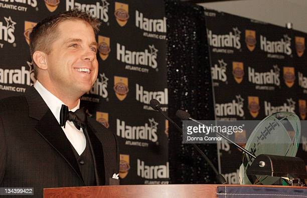 Sean Payton New Orleans Saints head coach and recipient of the Greasy Neale Award for professional coach of the year