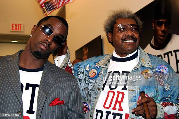 Sean PDiddy Combs and Don King during Vote Or Die Political Art Exhibition at Tony Shafrazi Gallery in New York City New York United States