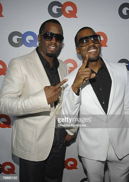 Sean PDiddy Combs and Kanye West attend the GQ Magazine 50th Anniversary Party at Cedar Lake on September 18 2007 in New York City