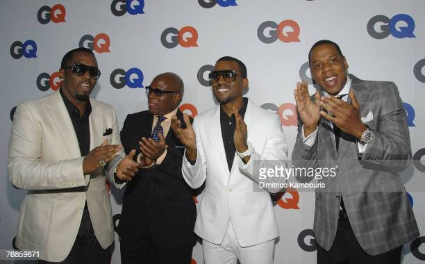 Sean PDiddy Combs Antonio LA Reid Kanye West and JayZ attend the GQ Magazine 50th Anniversary Party at Cedar Lake on September 18 2007 in New York...