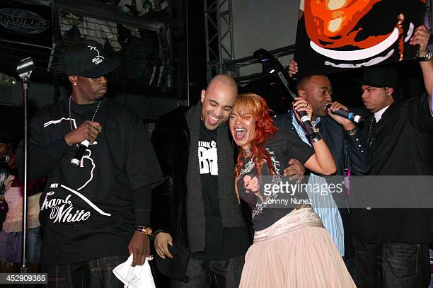 Sean PDiddy Combs guests and Faith Evans during Power 105 FM's 3rd Anniversary Party Celebrating Notorious BIG at Exit in New York City New York...
