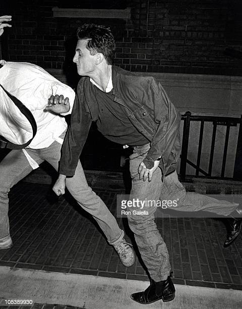 Sean Penn and Anthony Savignano during Performance of 'Goose and Tom Tom' August 28 1986 at Lincoln Center in New York City New York United States