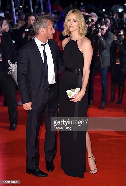 """Sean Penn and Charlize Theron attend the World Premiere of """"The Gunman"""" at BFI Southbank on February 16, 2015 in London, England."""