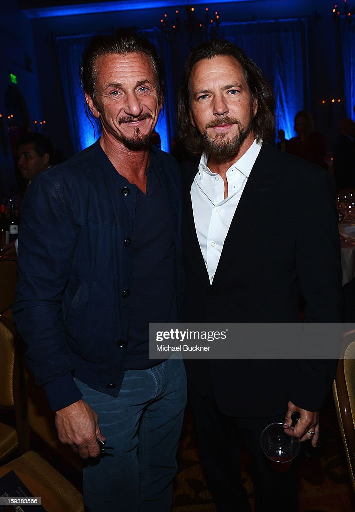 Sean Penn and Eddie Vedder attend the 2nd Annual Sean Penn and Friends Help Haiti Home Gala benefiting J/P HRO presented by Giorgio Armani at Montage Hotel on January 12, 2013 in Los Angeles, California.