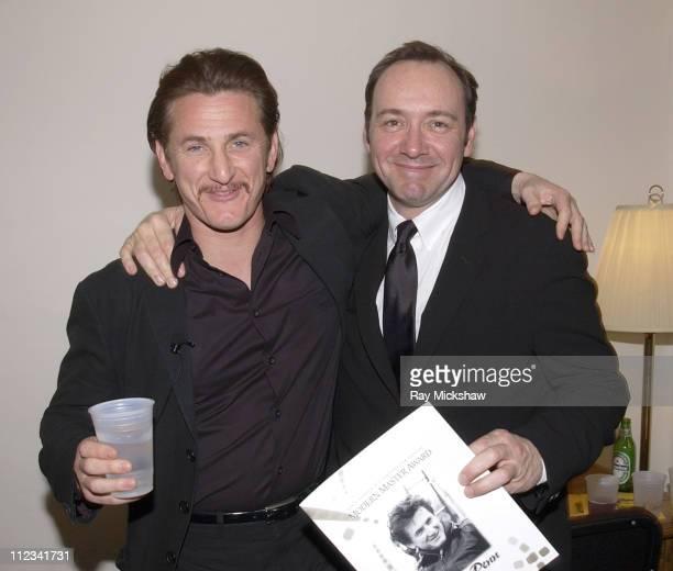 Sean Penn and Kevin Spacey during 2002 Modern Master Award to Sean Penn in Santa Barbara California United States