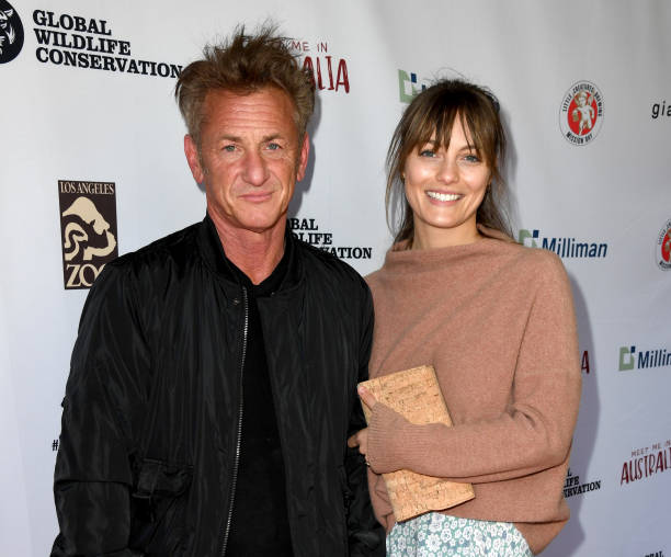 Sean Penn and Leila George arrive at the Meet Me In Australia event benefiting Australia Wildfire Relief Efforts at Los Angeles Zoo on March 08 2020...