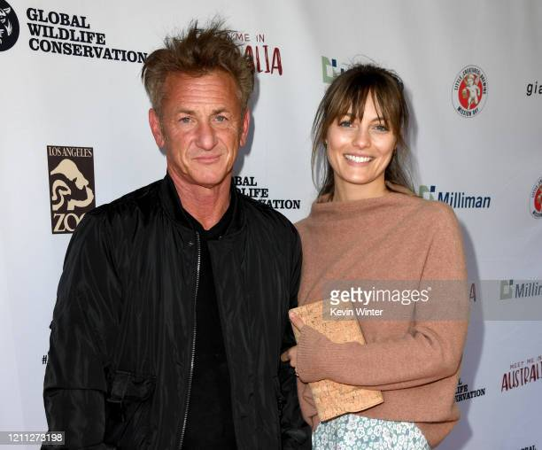 """Sean Penn and Leila George arrive at the """"Meet Me In Australia"""" event benefiting Australia Wildfire Relief Efforts at Los Angeles Zoo on March 08,..."""