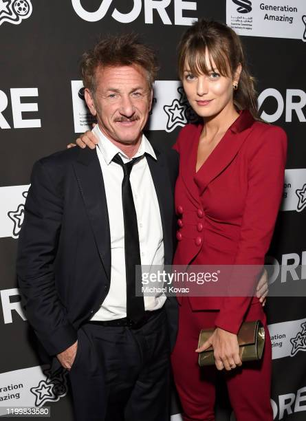 Sean Penn and Leila George attend CORE Gala: A Gala Dinner to Benefit CORE and 10 Years of Life-Saving Work Across Haiti & Around the World at...