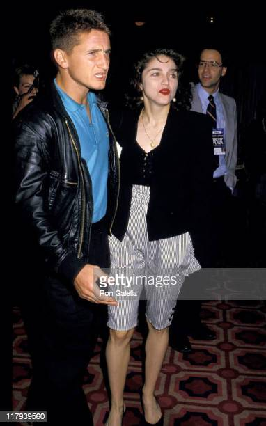 Sean Penn and Madonna during Mike Tyson vs Michael Spinks Fight at Trump Plaza June 27 1988 at Trump Plaza in Atlantic City New Jersey United States