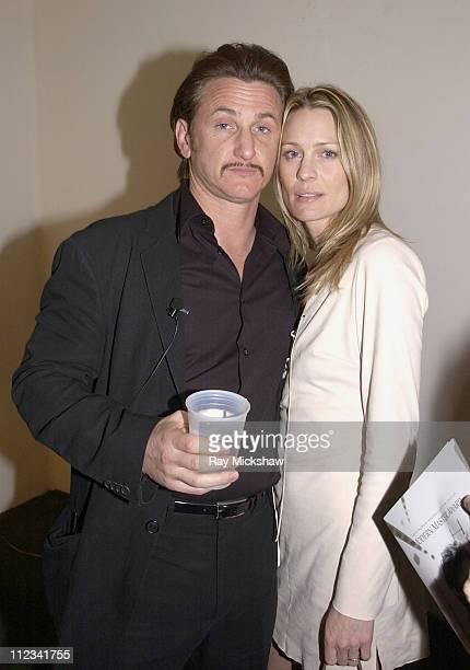 Sean Penn and Robin Wright Penn during 2002 Modern Master Award to Sean Penn in Santa Barbara California United States