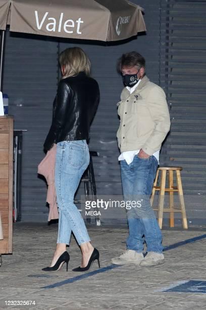 Sean Penn and wife Leila George are seen at Nobu on April 14, 2021 in Malibu, California.