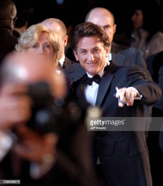 Sean Penn during 2004 Vanity Fair Oscar Party at Mortons in Beverly Hills California United States