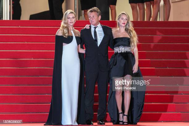 """Sean Penn, Dylan Penn and Katheryn Winnick attend the """"Flag Day"""" screening during the 74th annual Cannes Film Festival on July 10, 2021 in Cannes,..."""