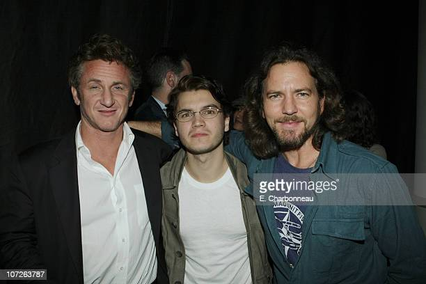 Sean Penn Emile Hirsch and Eddie Vedder at Paramount Vantage special screening of 'Into The Wild' with a live performance by Eddie Vedder at the...