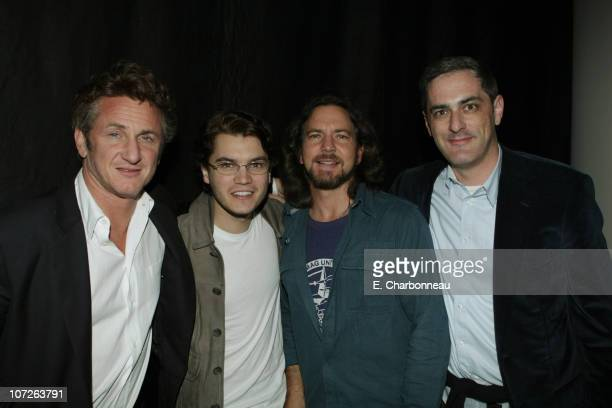 Sean Penn Emile Hirsch Eddie Vedder and Paramount Vantage's John Lesher at Paramount Vantage special screening of 'Into The Wild' with a live...