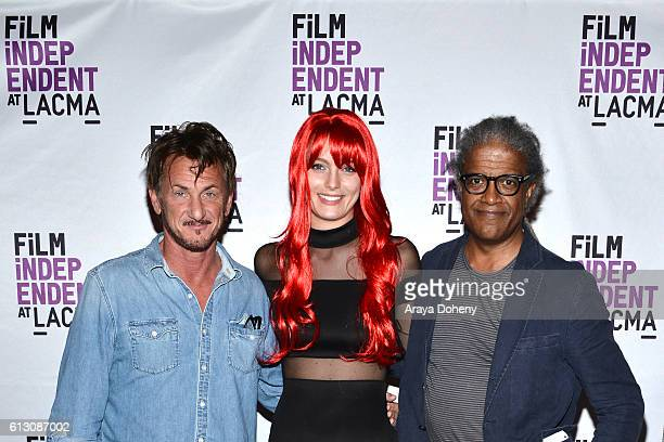 Sean Penn Leila George and Elvis Mitchell attend Film Independent at LACMA hosts an evening with Sean Penn at LACMA on October 6 2016 in Los Angeles...