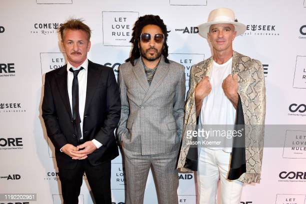 Sean Penn Lenny Kravitz and Alan Faena attend the Core x Let Love Rule Benefit during Art Basel Miami 2019 on December 05 2019 in Miami Florida