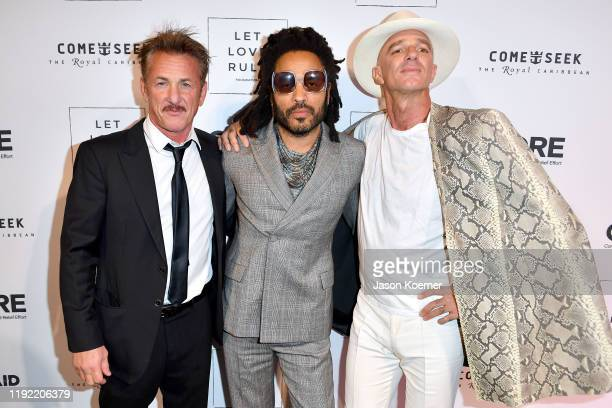 Sean Penn, Lenny Kravitz and Alan Faena attend the Core x Let Love Rule Benefit during Art Basel Miami 2019 on December 05, 2019 in Miami, Florida.