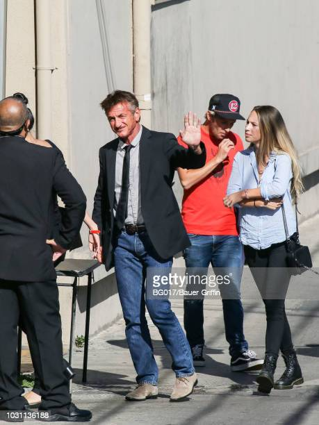 Sean Penn son Hopper Penn and daughter Dylan Penn are seen arriving at 'Jimmy Kimmel Live' on September 10 2018 in Los Angeles California