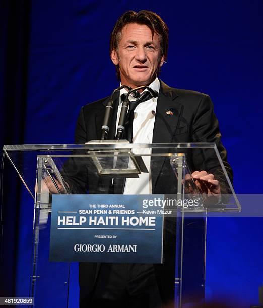 Sean Penn speaks onstage at the 3rd annual Sean Penn Friends HELP HAITI HOME Gala benefiting J/P HRO presented by Giorgio Armani at Montage Beverly...