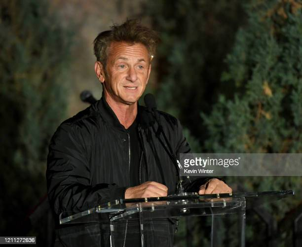 """Sean Penn speaks onstage at the """"Meet Me In Australia"""" event benefiting Australia Wildlife Relief Efforts at Los Angeles Zoo on March 08, 2020 in Los..."""