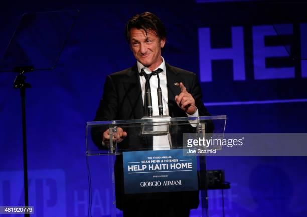 Sean Penn speaks onstage during the 3rd annual Sean Penn Friends HELP HAITI HOME Gala benefiting J/P HRO presented by Giorgio Armani at Montage...