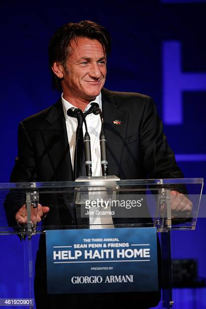 Sean Penn speaks onstage during the 3rd annual Sean Penn Friends HELP HAITI HOME Gala benefiting J/P HRO presented by Giorgio Armani at Montage...