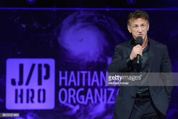 Sean Penn speaks onstage during the 7th Annual Sean Penn Friends HAITI RISING Gala benefiting J/P Haitian Relief Organization on January 6 2018 in...