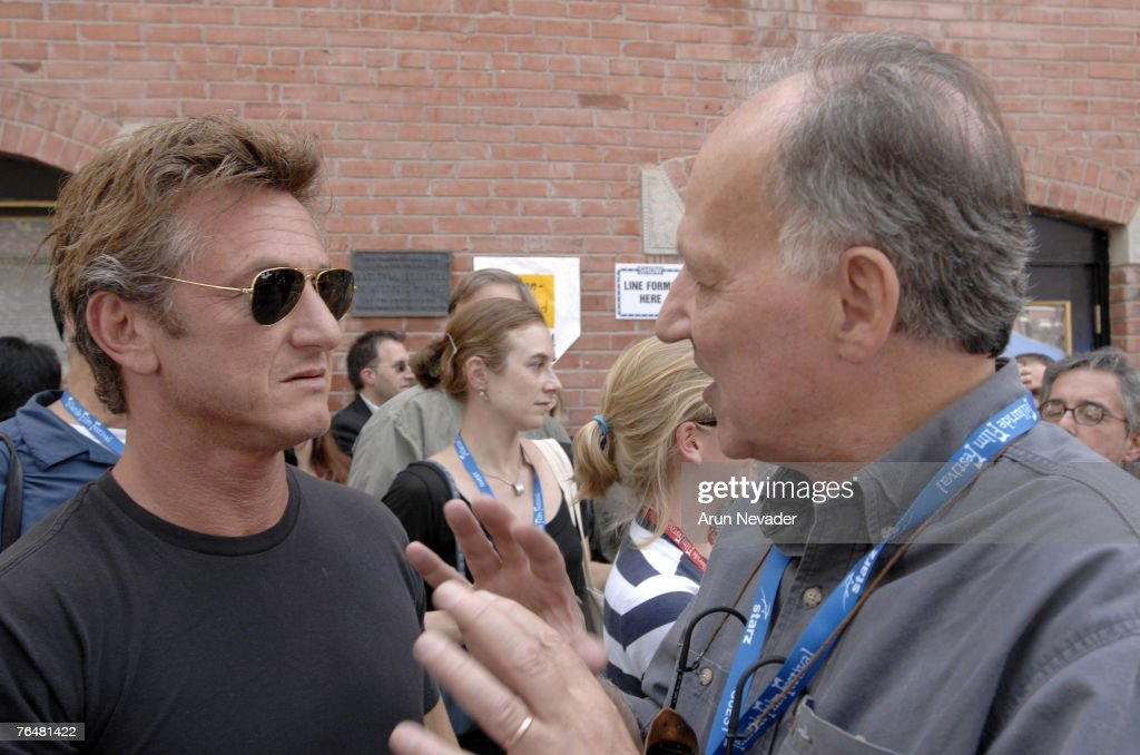 Sean Penn speaks with Werner Herzog at the filmmakers' town gathering for the Telluride Film Festival on September 1, 2007, in Telluride, Colorado.