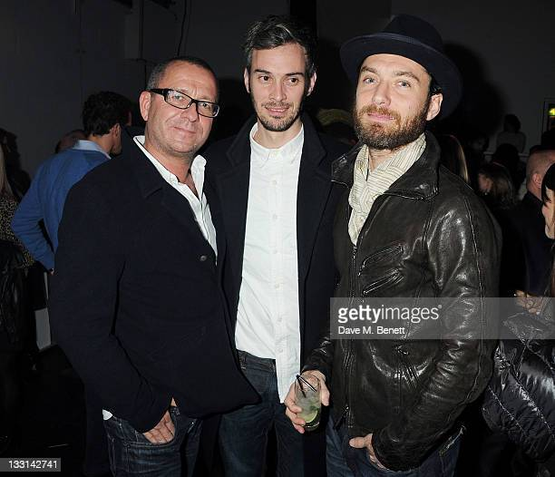 Sean Pertwee Ben Jackson and Jude Law attend an after party following the UK Film Premiere of 'Beyond Time William Turnbull' at The Institute Of...