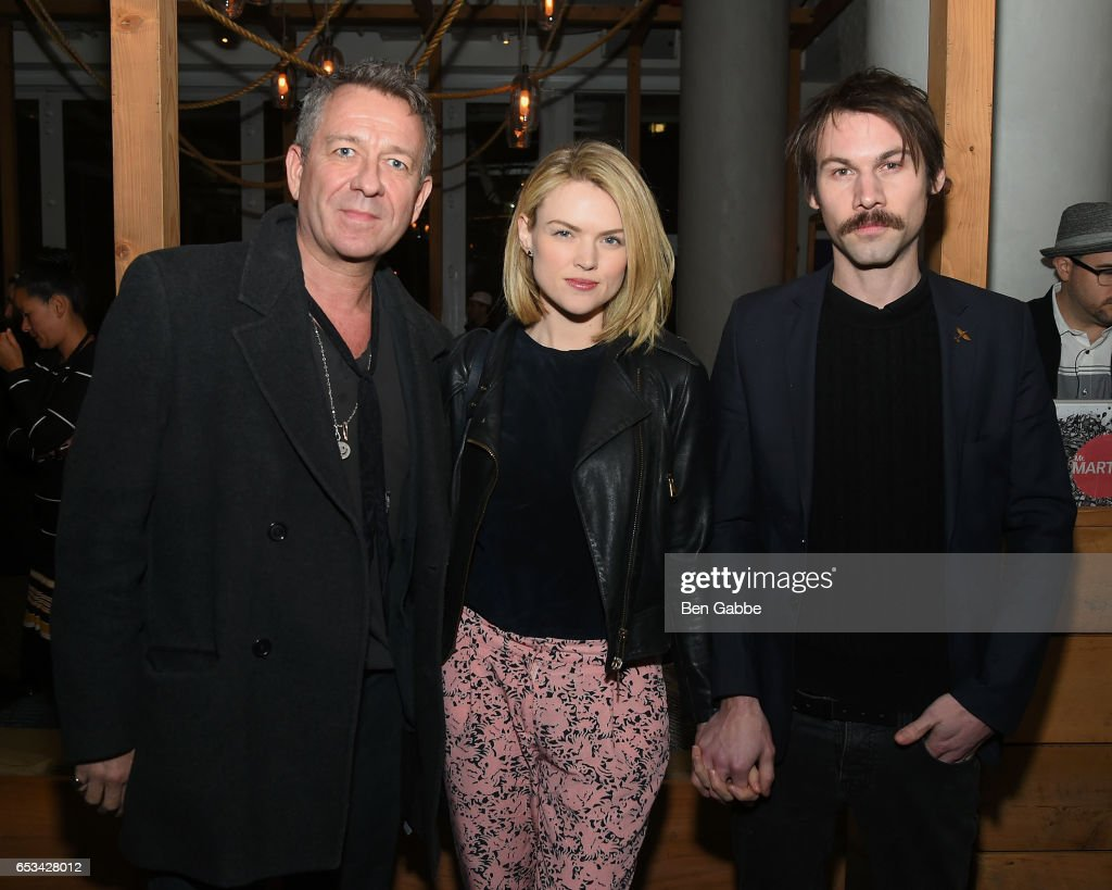 Sean Pertwee, Erin Richards and guest attend the after party for the TriStar and Cinema Society screening of 'T2 Trainspotting' at Mr. Purple at the Hotel Indigo LES on March 14, 2017 in New York City.