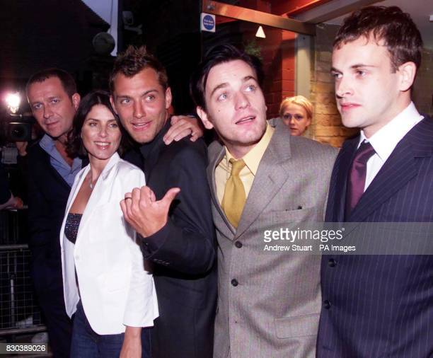 Sean Pertwee Sadie Frost Jude Law Ewan McGregor and Johnny Lee Miller attending the celebrity premiere of McGregor's new film Nora at the Everyman...