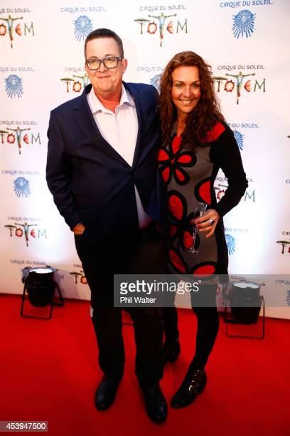 Sean Plunkett and Tara Merriman attend the opening night of TOTEM from Cirque Du Soleil at Alexandra Park on August 22 2014 in Auckland New Zealand